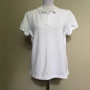 RALPH LAUREN white Skinny polo pique knit shirt M